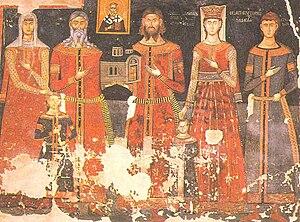 Paskačić noble family - Paskač with his family, monastery Psača near Kriva Palanka, Republic of Macedonia. Dated middle of the 14th century.