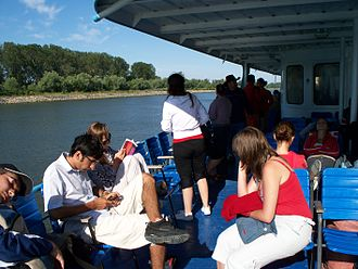 Passenger - Passengers on a boat in the Danube delta, 2008