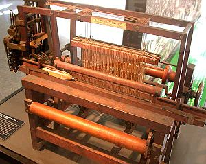 Heddle - Patent model of a mechanized loom, with string heddles