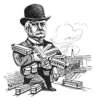 Patrick Calhoun - Caricature of Calhoun from 1912, depicting him playing with streetcars as if they were toys.