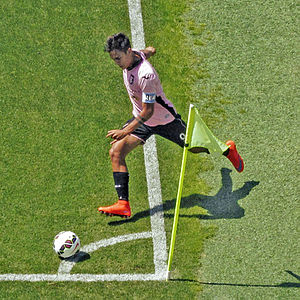 Paulo Dybala - Dybala taking a corner for Palermo in 2015.