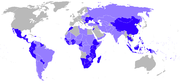 Countries that the Peace Corps currently works in (orange) and has worked in previously (purple). (See picture details for countries that are unhighlighted.)