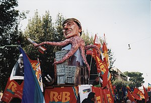 15 February 2003 anti-war protests - A puppet representing Italian PM Silvio Berlusconi during the demonstration in Rome