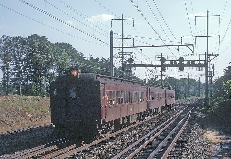 Penn Central MP54s near Capital Beltway station, July 1970.jpg
