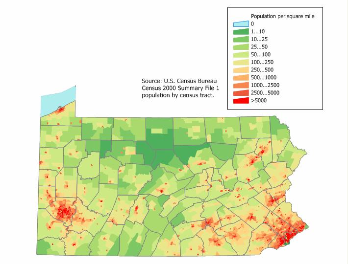Pennsylvania population map 1
