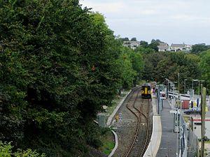 Penryn railway station - Image: Penryn trains passing 1