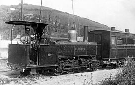 Pentewan Railway 2-6-2 tank Pioneer at Pentewan shortly after delivery in 1912.jpg