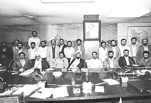 Mir-Hossein Mousavi - Mousavi (first from right, sitting) as Minister of Foreign Affairs in the cabinet of President Mohammad-Ali Rajai and Prime Minister Mohammad Javad Bahonar, 1981
