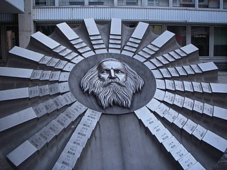 Science and technology in Russia - A sculpture in honor of Dmitry Mendeleev and his Periodic table in Slovakia.
