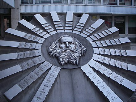 Sculpture in honor of Mendeleev and the periodic table, located in Bratislava, Slovakia