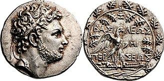 Publius Cornelius Scipio Nasica Corculum - Tetradrachm of Perseus, minted between 179–172 BC at Pella or Amphipolis.  The reverse depicts Zeus' eagle on a thunderbolt.