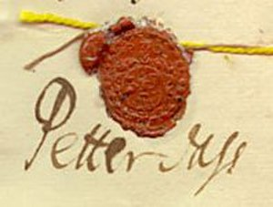Petter Dass - Signature of Petter Dass from the census of 1701