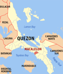 Map of Quezon showing the location of Macalelon