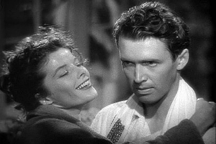 Stewart won his only Academy Award for Best Actor for 1940's The Philadelphia Story. He is seen here with co-star Katharine Hepburn. Philadelphia Story 13.jpg