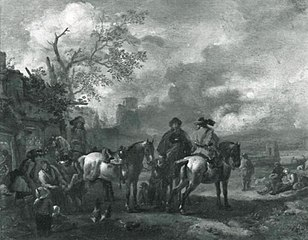 Landscape with horsemen at a blacksmith