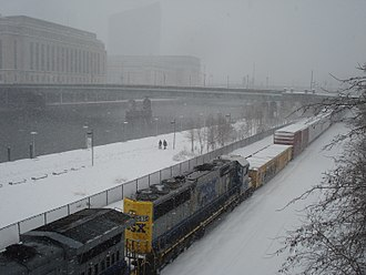 February 9–10, 2010 North American blizzard - Blizzard conditions in Philadelphia on February 10.  30th Street Station and Cira Center barely visible from Walnut Street.