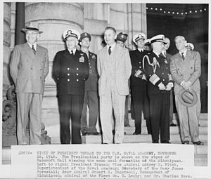 Stuart H. Ingersoll - Image: Photograph of President Truman's party on the steps of Bancroft Hall, reviewing the noon meal formation of the... NARA 198666