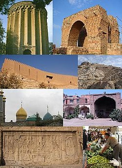 Top to bottom: 1st row:Left to right: Tughrul Tower---Bahram fire temple 2nd row:Rey Castle---Rashkan Castle 3rd row:Shah-Abdol-Azim shrine---Shah Abbassi Caravanserai 4th row:Fath Ali shah inscription---A local bazaar (Friday Bazar)