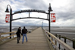 The White Rock pier on a very windy day in Apr...