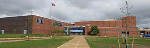 "Pioneer High School (Ann Arbor, Michigan) - Pioneer High School: view of the east, or ""A Hall,"" entrance"