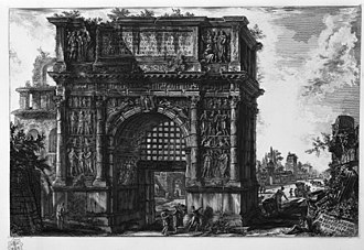 Giovanni Battista Piranesi - The Arch of Trajan at Benevento, etching