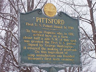 Pittsford, Vermont - Plaque honoring resident Samuel Hopkins, recipient of the first United States patent