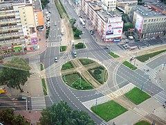 Widok na plac Rodła z 22 piętra PAZIMu, 2013