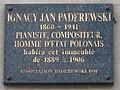 Plaque Ignacy Paderewski avenue Victor-Hugo Paris.jpg