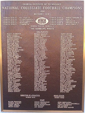 1990 Georgia Tech vs. Virginia football game - Plaque for Georgia Tech's national championship