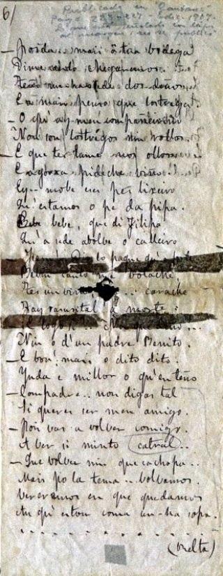 Poema manuscrito de Rosalía