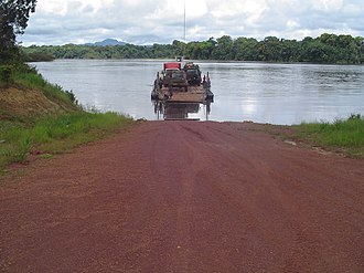 Essequibo River - Pontoon crossing at Mango Landing, Essequibo River