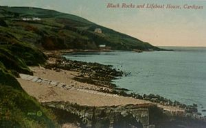 "Cardigan Lifeboat Station - An early 20th century postcard entitled ""Black Rocks and Lifeboat House"" (centre, just above waterline). This was the 1876 boathouse."