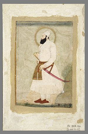 Deccan sultanates - A manuscript depicting the painting of Abul Hasan Qutb Shah the last ruler of the Golkonda Sultanate.