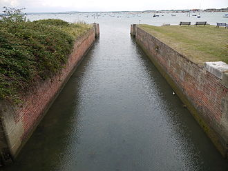 Portsmouth and Arundel Canal - The remains of the sea lock at the end of the Portsea section