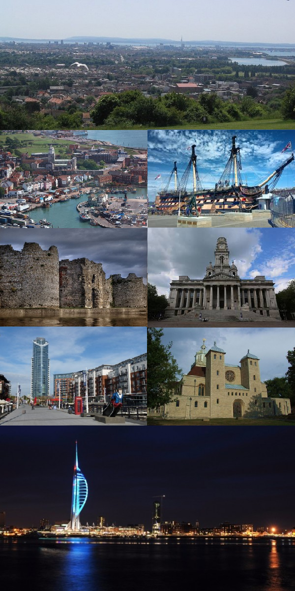 Clockwise from top: The city viewed from Portsdown Hill, HMS Victory, Portsmouth Guildhall, Portsmouth Cathedral, the Spinnaker Tower alongside Portsmouth Harbour, Gunwharf Quays, Portchester Castle and Old Portsmouth