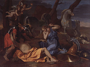 Barber Institute of Fine Arts - Nicolas Poussin, Tancred and Erminia (c.1634), oil on canvas