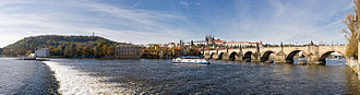 Vltava - The Vltava as it flows under the Charles Bridge in Prague