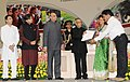Pranab Mukherjee gave away the Saakshar Bharat awards, at the International Literacy Day celebrations, in New Delhi. The Union Minister of Human Resource Development, Shri M.M. Pallam Raju (1).jpg