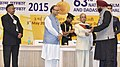Pranab Mukherjee presenting the Nargis Dutt Award for the Best Feature Film on National Integration to the Gurbani Media Private Limited, Director Shri Harinder S. Sikka, at the 63rd National Film Awards Function.jpg