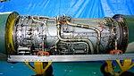 Pratt & Whitney JT8D-9 turbofan engine compressor & combustor, tuebine section left side view at JASDF Iruma Air Base November 3, 2014.jpg