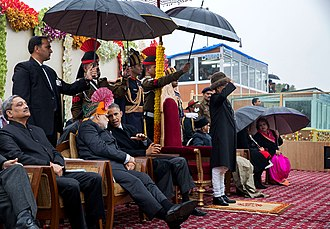 Manohar Parrikar - Manohar Parrikar with Prime Minister Narendra Modi at the 2015 Republic Day Parade, New Delhi.