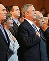 President George W. Bush and Laura Bush are seen with Israeli leaders Prime Minister Ehud Olmert and Shimon Peres.jpg