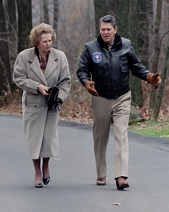 Foreign policy of the Ronald Reagan administration - President Ronald Reagan with British Prime Minister Margaret Thatcher at Camp David in 1986