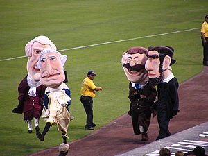 Presidents Race - Tom, George, Teddy, and Abe, a few days after their live debut at RFK Stadium in 2006.