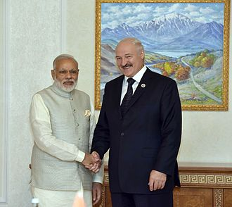 Alexander Lukashenko - Lukashenko during a bilateral meeting with Indian Prime Minister Narendra Modi in June 2016.