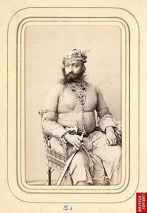 Kishangarh - Prithvi Singh (r.1840-1879), 15th Maharaja of Kishangarh, early 1870s.