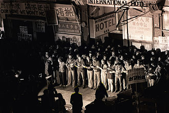 International Hotel (San Francisco) - Image: Protesters in front of the International Hotel