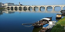 Cessart bridge over the Loire river in Saumur