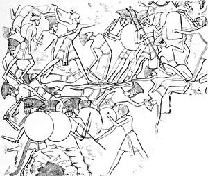 Battle of Djahy - Image: Pulasti (Philistine) and Tsakkaras (painting)