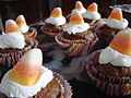 Pumpkin pie cupcakes with candy corn.jpg